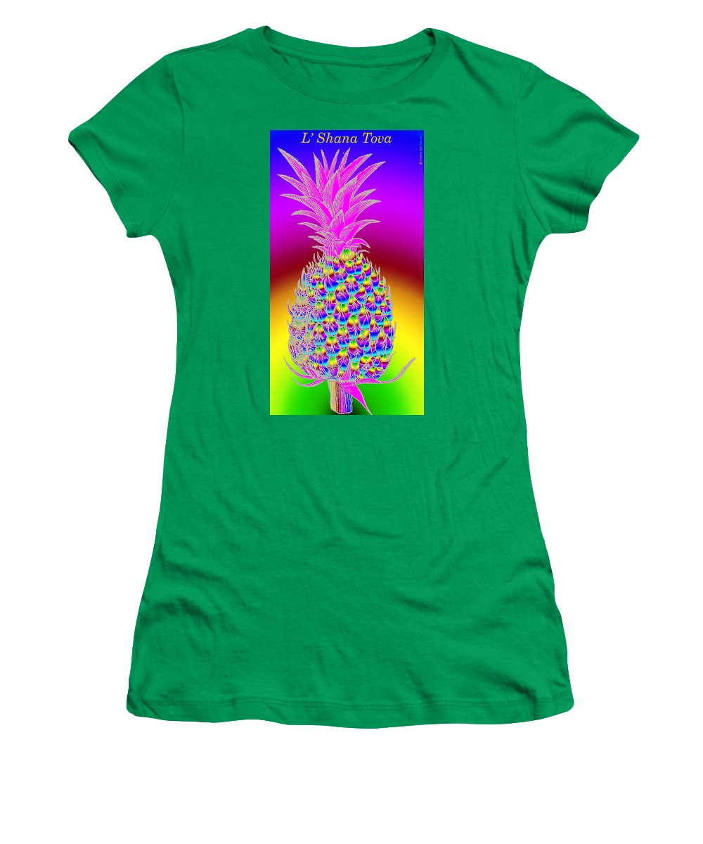 Pineapple Women's T-Shirt (Athletic Fit) featuring the digital art Rosh Hashanah Pineapple by Eric Edelman