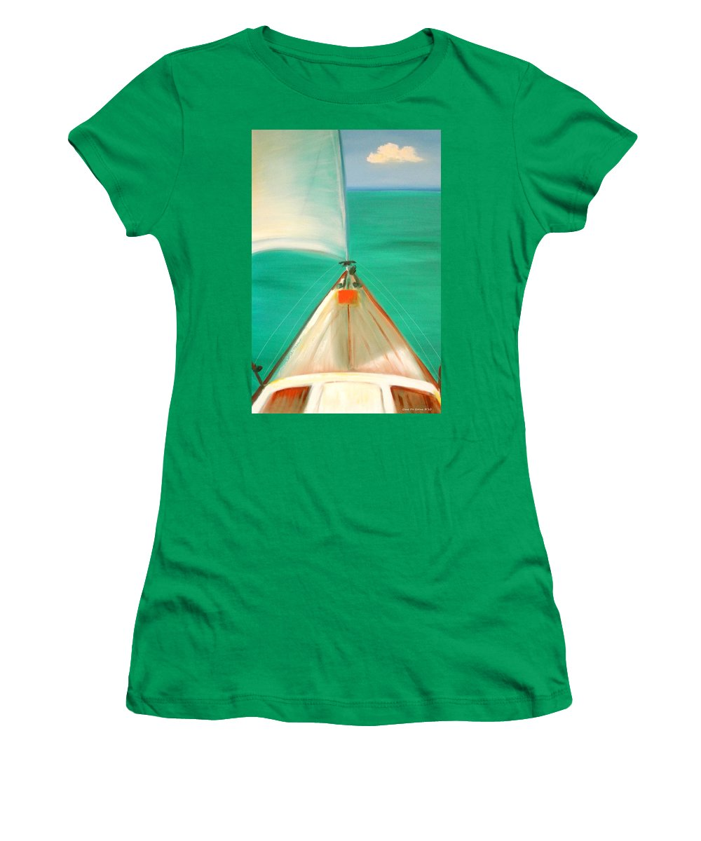 Sea Women's T-Shirt (Athletic Fit) featuring the painting Sailing by Gina De Gorna