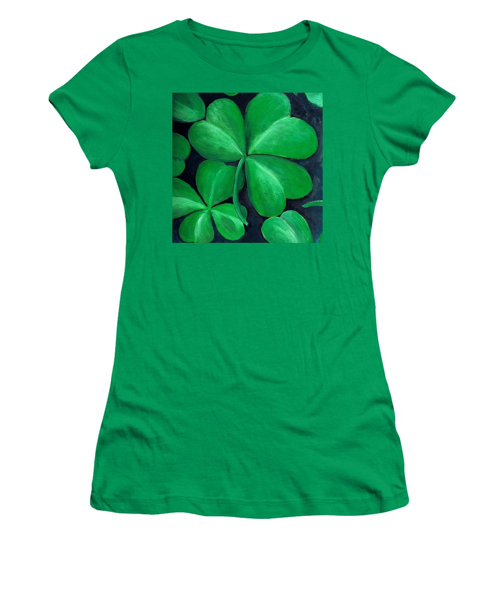 Shamrock Women's T-Shirt (Athletic Fit) featuring the painting Shamrocks by Nancy Mueller