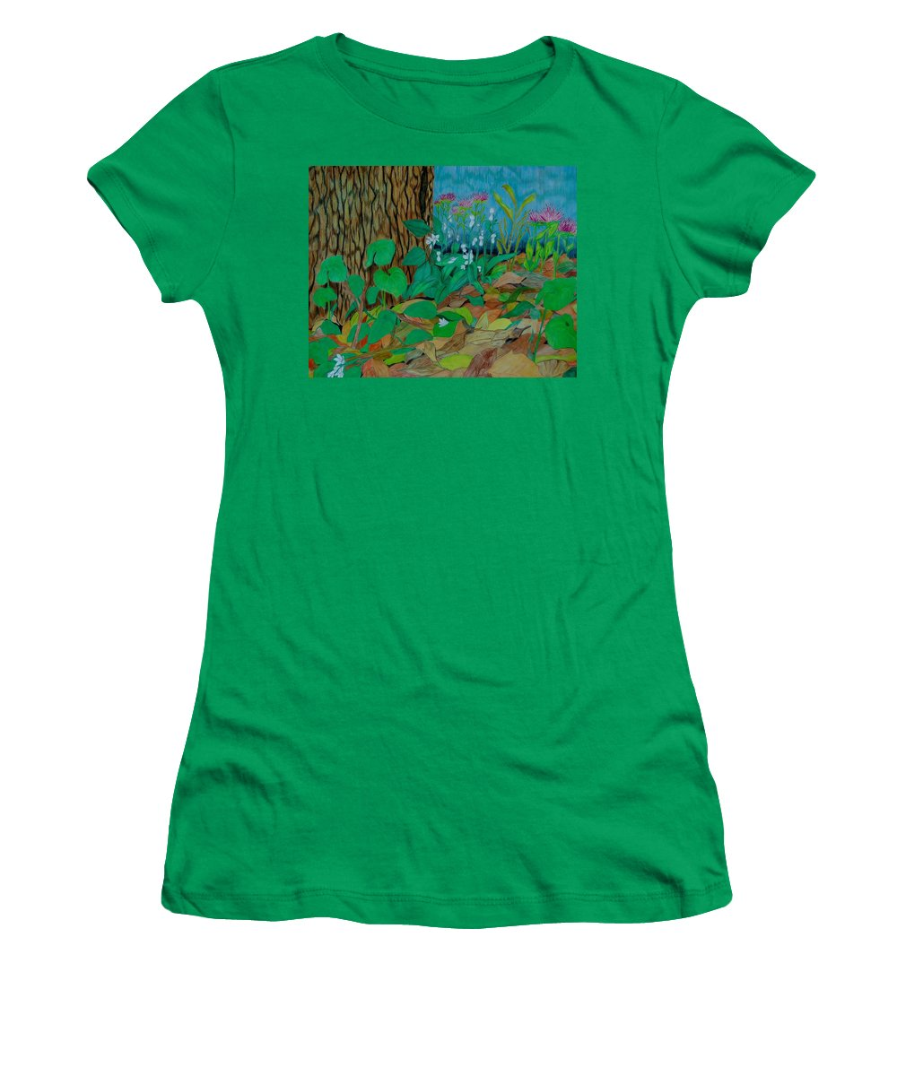 Tree Women's T-Shirt featuring the mixed media Six in hiding by Charla Van Vlack