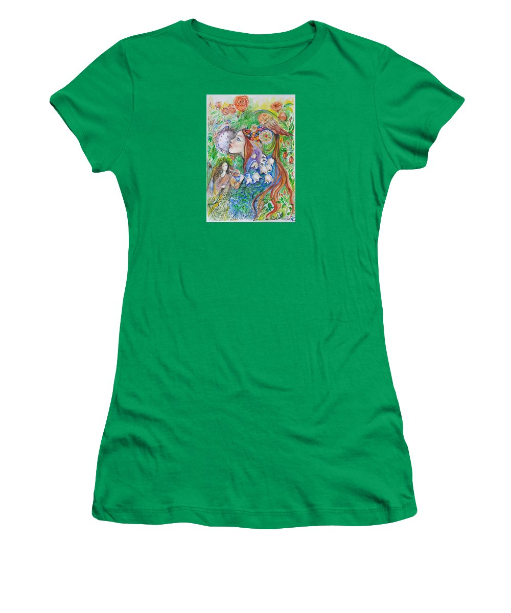 Lilies Of The Valley Women's T-Shirt featuring the mixed media Spring Song by Rita Fetisov