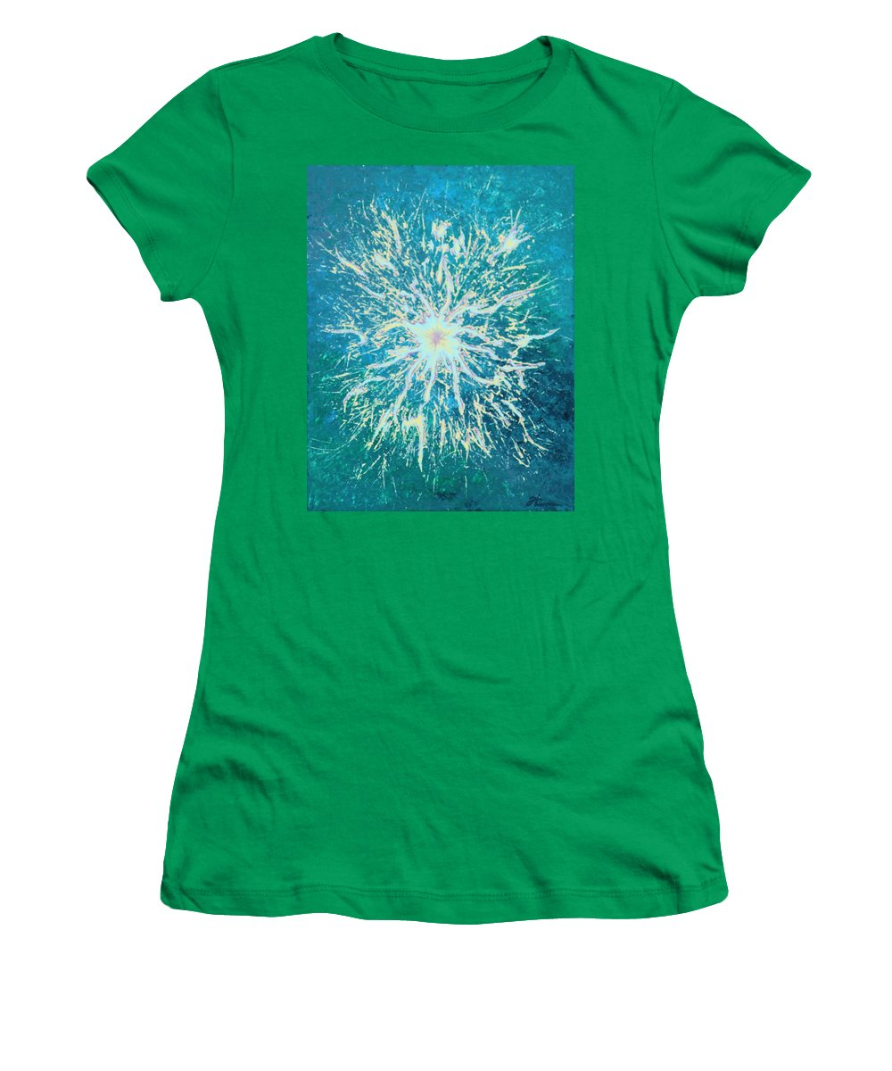 Acrylic Women's T-Shirt (Athletic Fit) featuring the painting Static by Todd Hoover