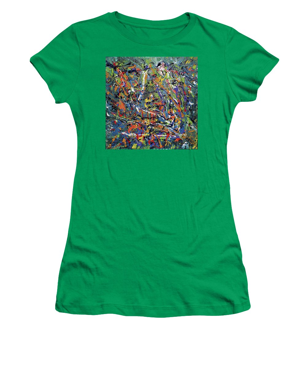 Orange Women's T-Shirt featuring the painting Stormza Brewin' by Pam Roth O'Mara