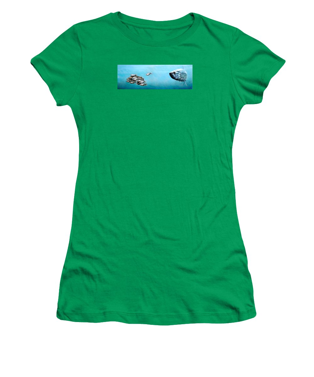 Underwater Women's T-Shirt featuring the painting Tampa Bay Tarpon by Joan Garcia