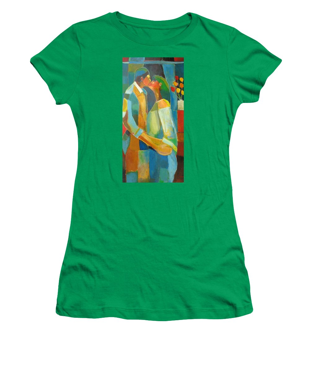 Love Abstract Women's T-Shirt (Athletic Fit) featuring the painting The Sweet Kiss by Habib Ayat