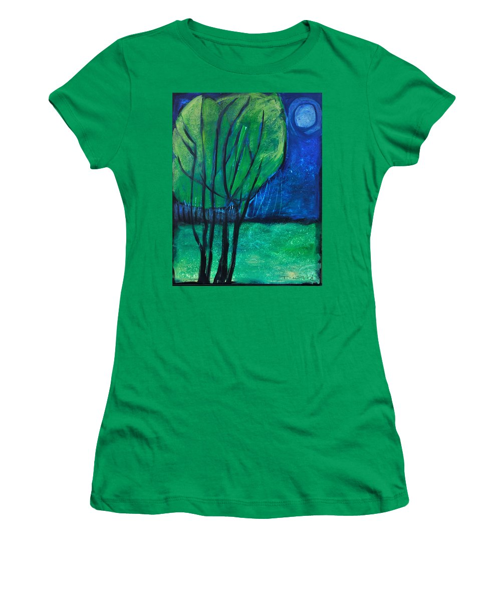 Trees Women's T-Shirt (Athletic Fit) featuring the painting Then Came Evening by Tim Nyberg