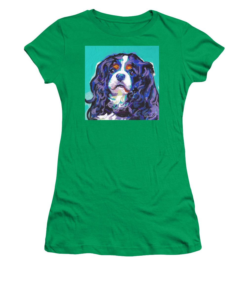 Cavalier Pop Dog Art Women's T-Shirt featuring the painting Tri A Little Tenderness by Lea S