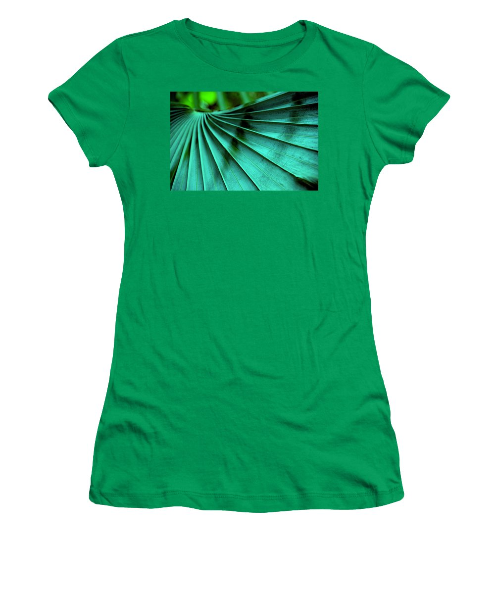 Silver Palm Leaf Women's T-Shirt (Athletic Fit) featuring the photograph Tropical Wings by Susanne Van Hulst