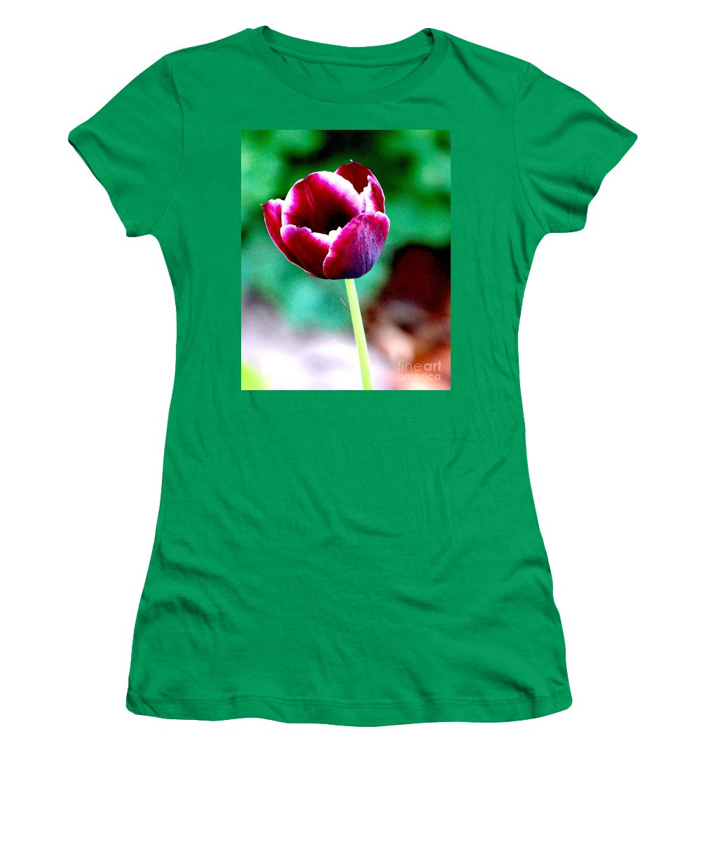Digital Photo Women's T-Shirt (Athletic Fit) featuring the photograph Tulip Me by David Lane