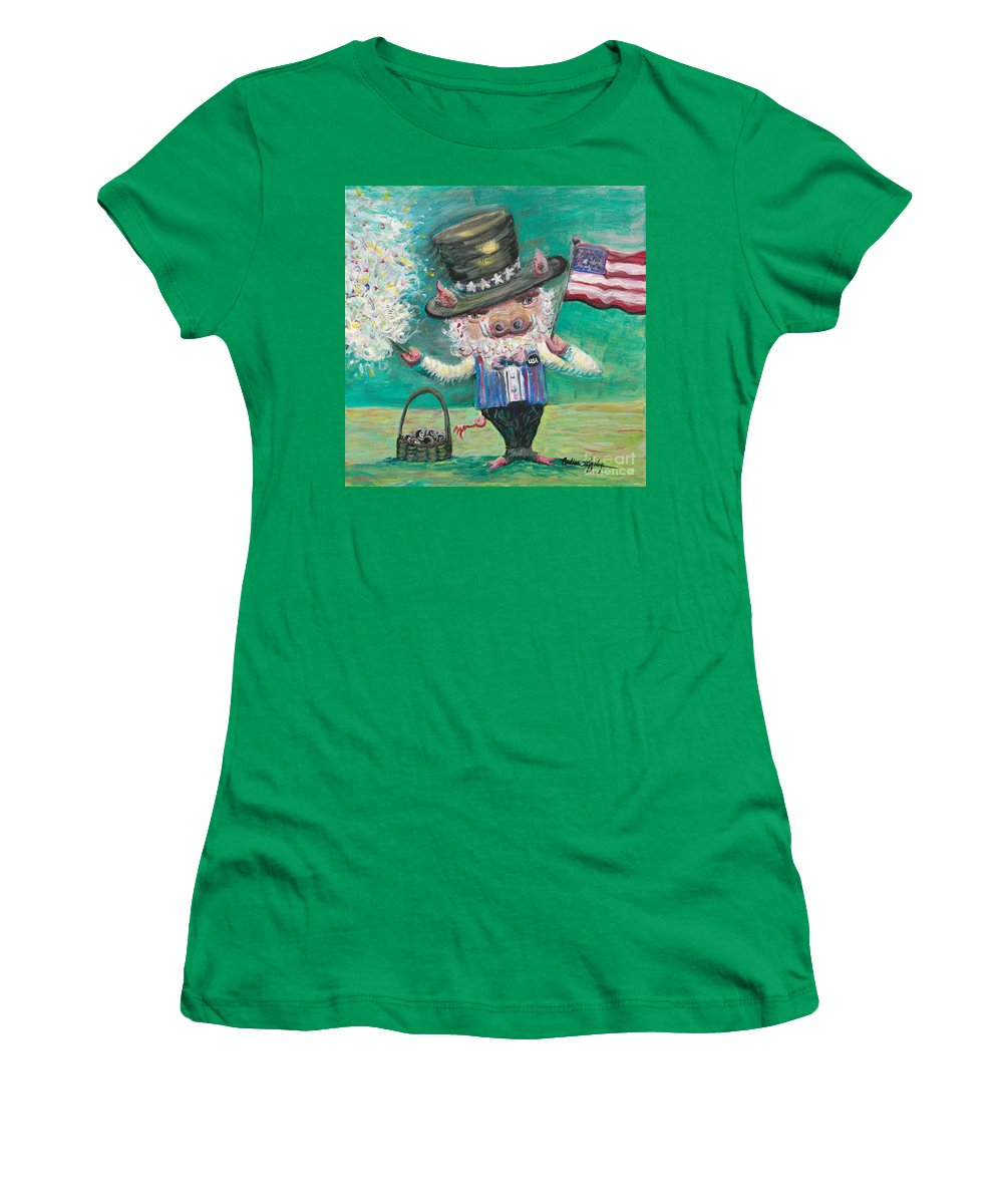 Fourth Of July Women's T-Shirt (Athletic Fit) featuring the painting Uncle Spam by Nadine Rippelmeyer