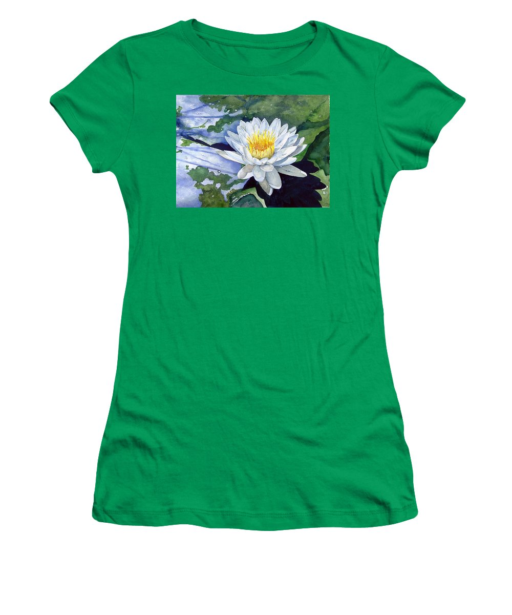 Flower Women's T-Shirt featuring the painting Water Lily by Sam Sidders