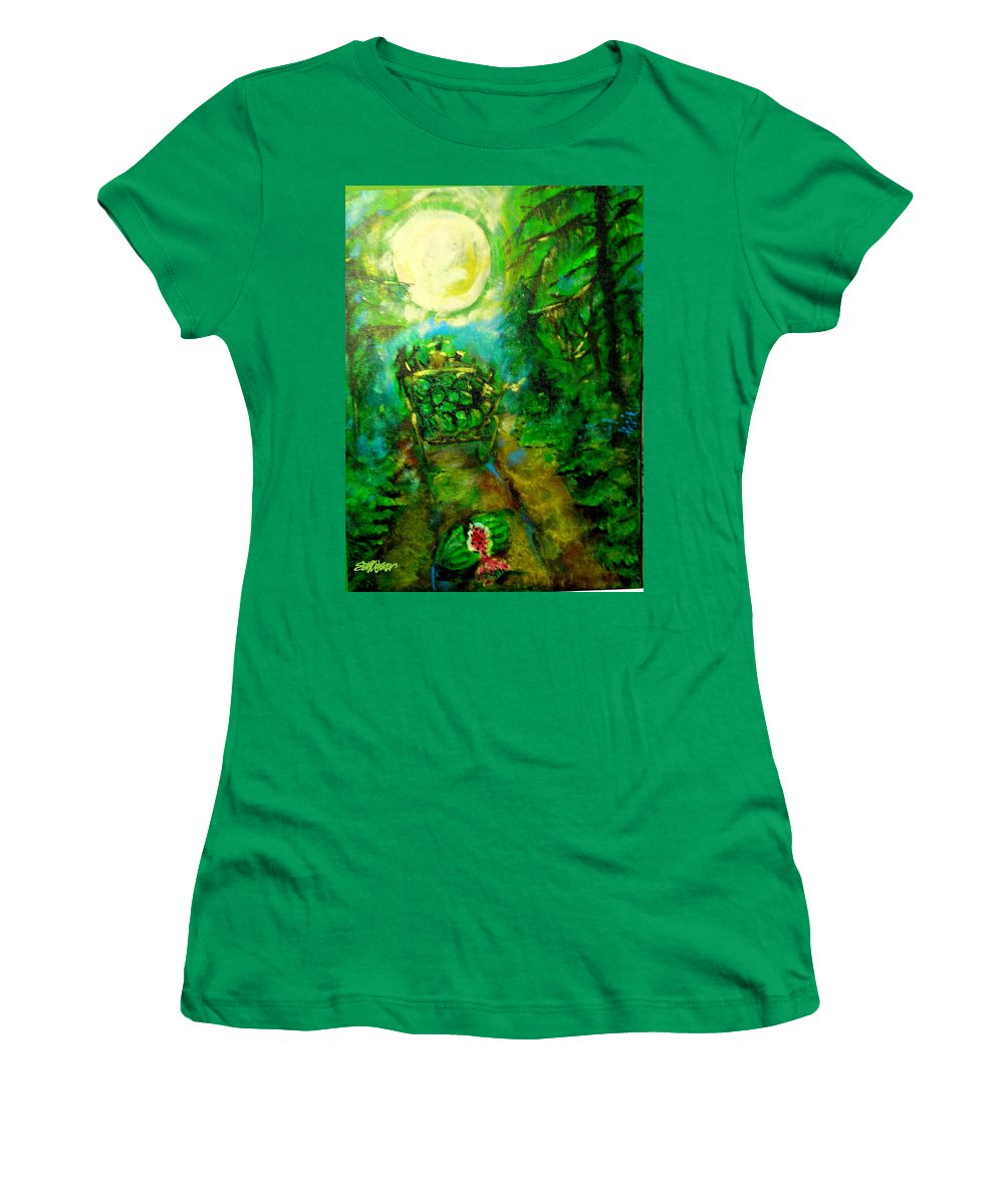 Watermelon Wagon Moon Women's T-Shirt featuring the painting Watermelon Wagon Moon by Seth Weaver
