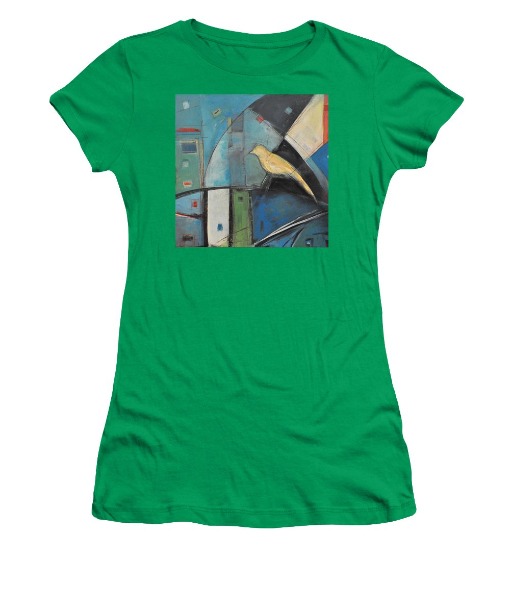 Bird Women's T-Shirt featuring the painting Yellow Bird by Tim Nyberg