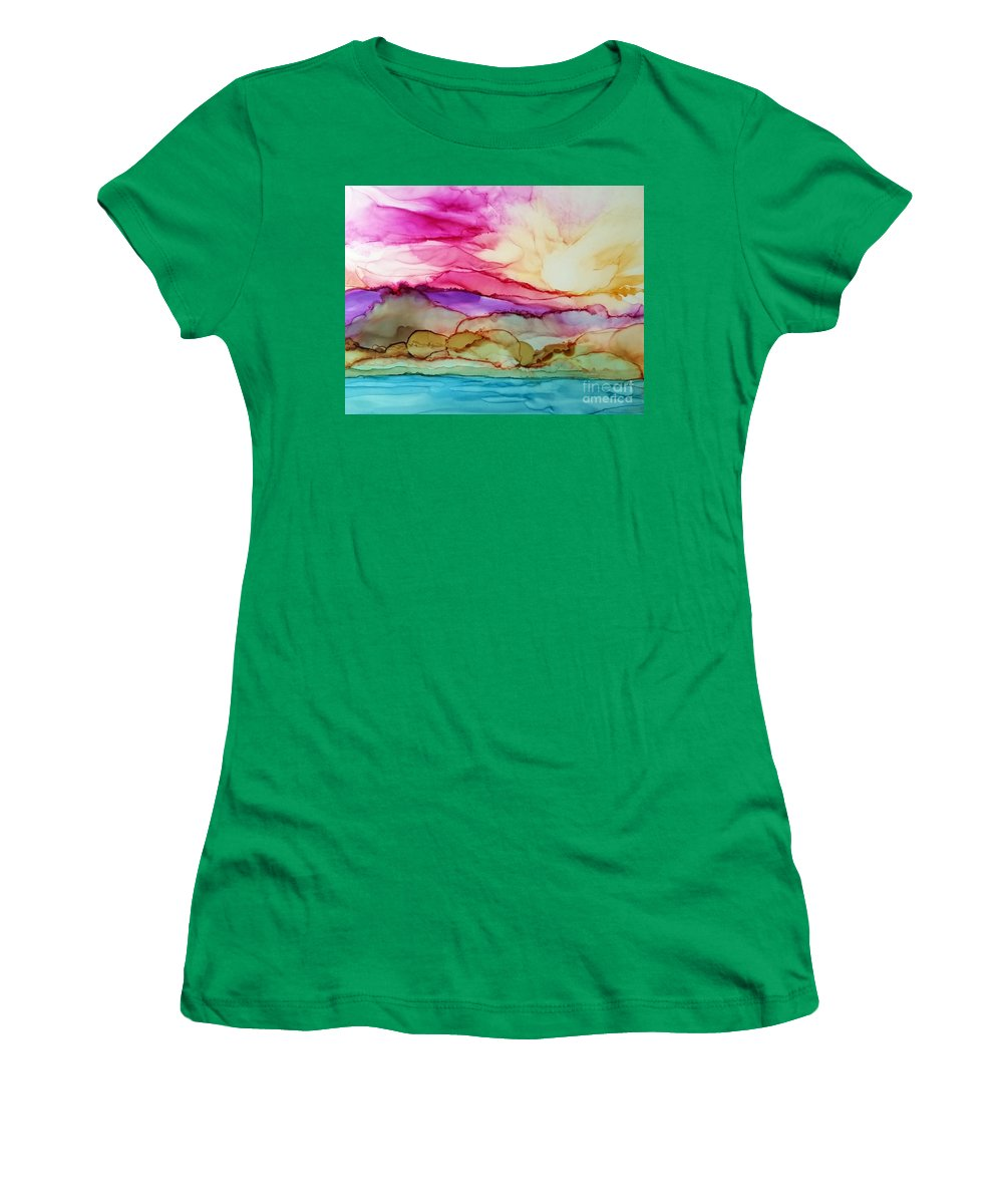 Alcohol Ink Women's T-Shirt featuring the painting Serenity by Beth Kluth