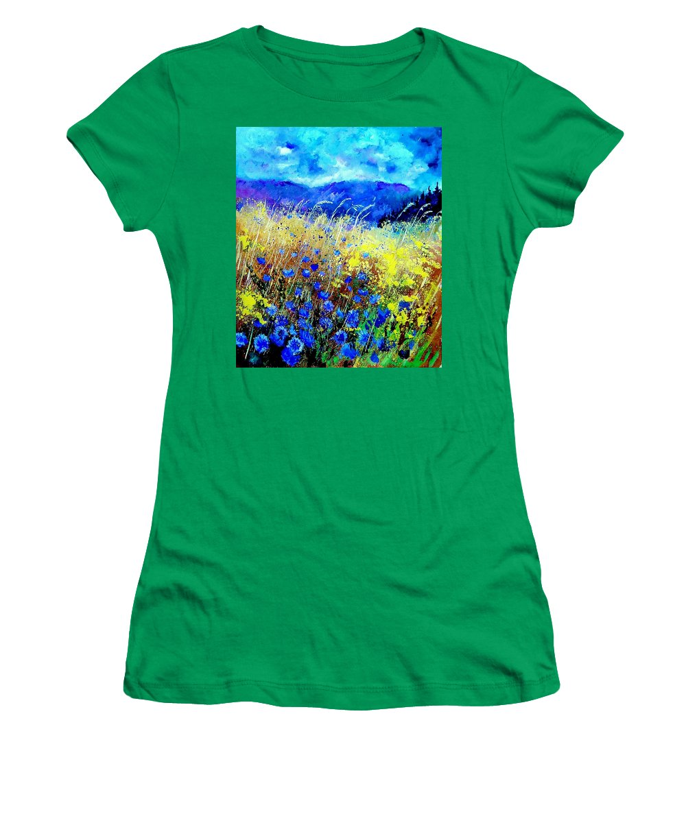 Poppies Women's T-Shirt featuring the painting Blue cornflowers 67 by Pol Ledent