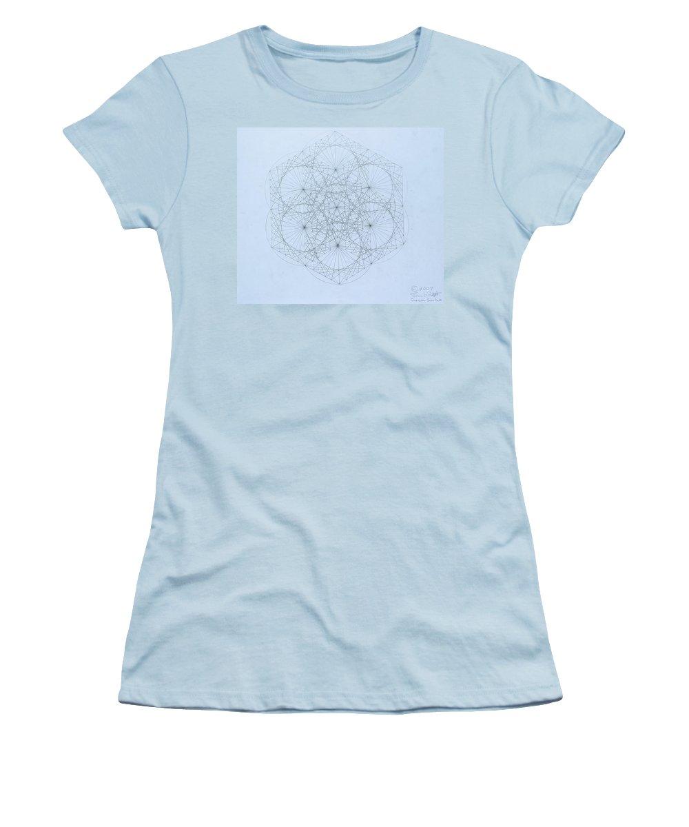 Jason Padgett Women's T-Shirt (Athletic Fit) featuring the drawing Quantum Snowflake by Jason Padgett