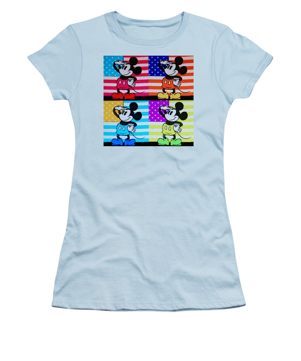Mickey Mouse Women's T-Shirt (Athletic Fit) featuring the photograph American Mickey by Rob Hans