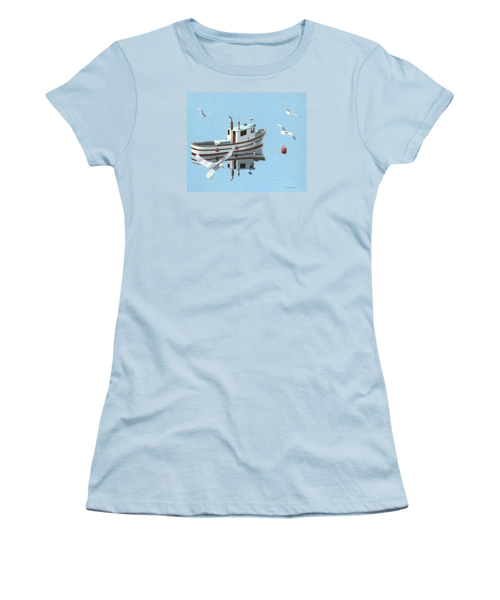Boat Women's T-Shirt (Athletic Fit) featuring the painting A Contemplation Of Seagulls by Gary Giacomelli