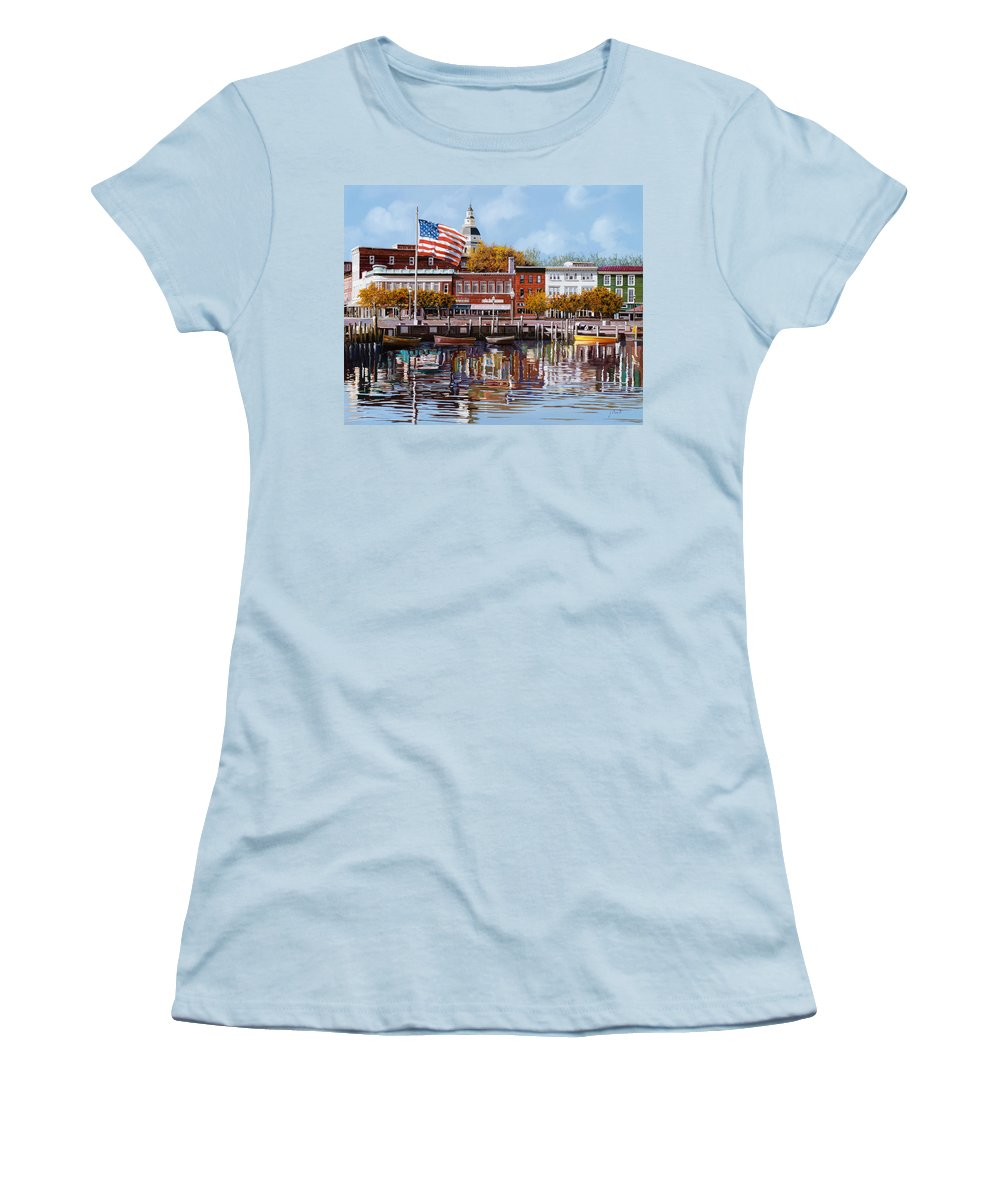 Annapolis Women's T-Shirt (Athletic Fit) featuring the painting Annapolis by Guido Borelli