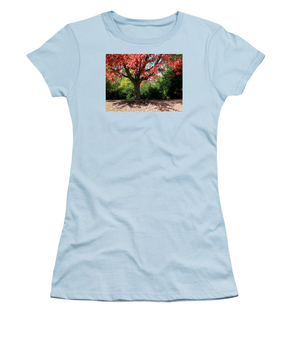 Autumn Women's T-Shirt (Athletic Fit) featuring the photograph Autumn Ablaze by Ann Horn