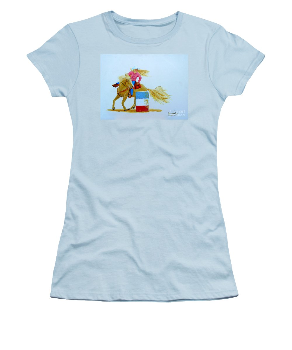 Rodeo Women's T-Shirt (Athletic Fit) featuring the painting Barrel Racer by Anthony Dunphy
