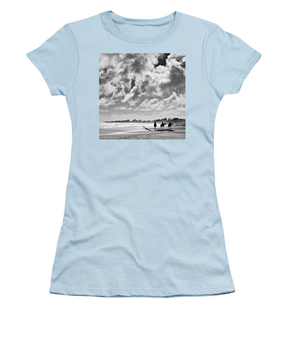 Ride Women's T-Shirt (Athletic Fit) featuring the photograph Beach Riders by Dave Bowman