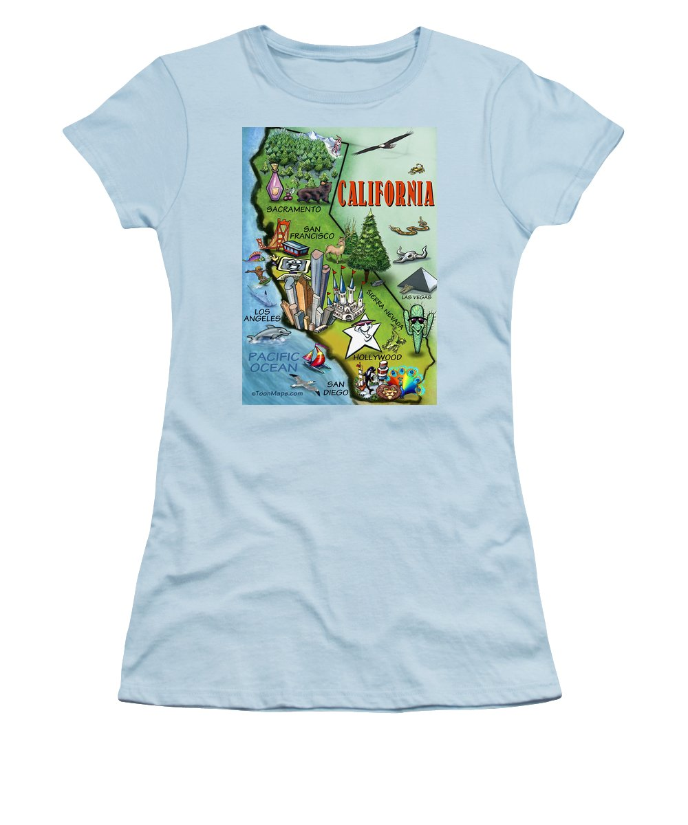 California Women's T-Shirt (Athletic Fit) featuring the digital art California Cartoon Map by Kevin Middleton