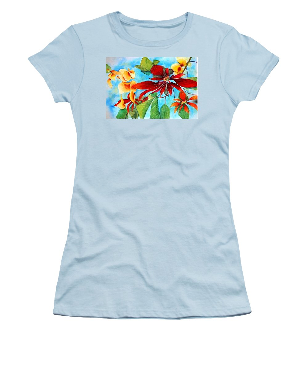 Watercolor Women's T-Shirt (Athletic Fit) featuring the painting Christmas All Year Long by Debbie Lewis