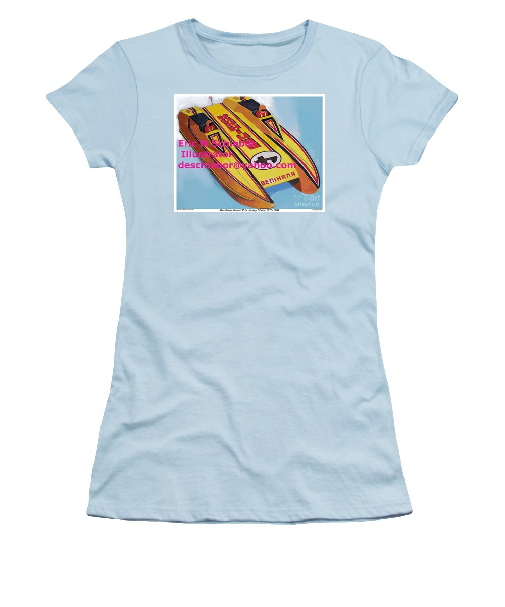 Power Boat Women's T-Shirt (Athletic Fit) featuring the painting Cigarett Power Boat Illustration by Eric Schiabor
