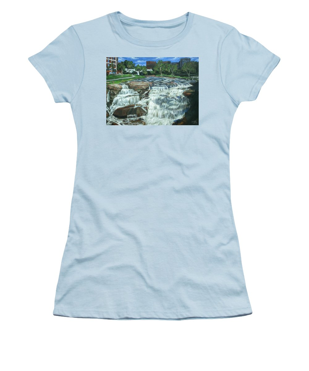 Waterfall Women's T-Shirt (Athletic Fit) featuring the painting Falls River Park by Bryan Bustard