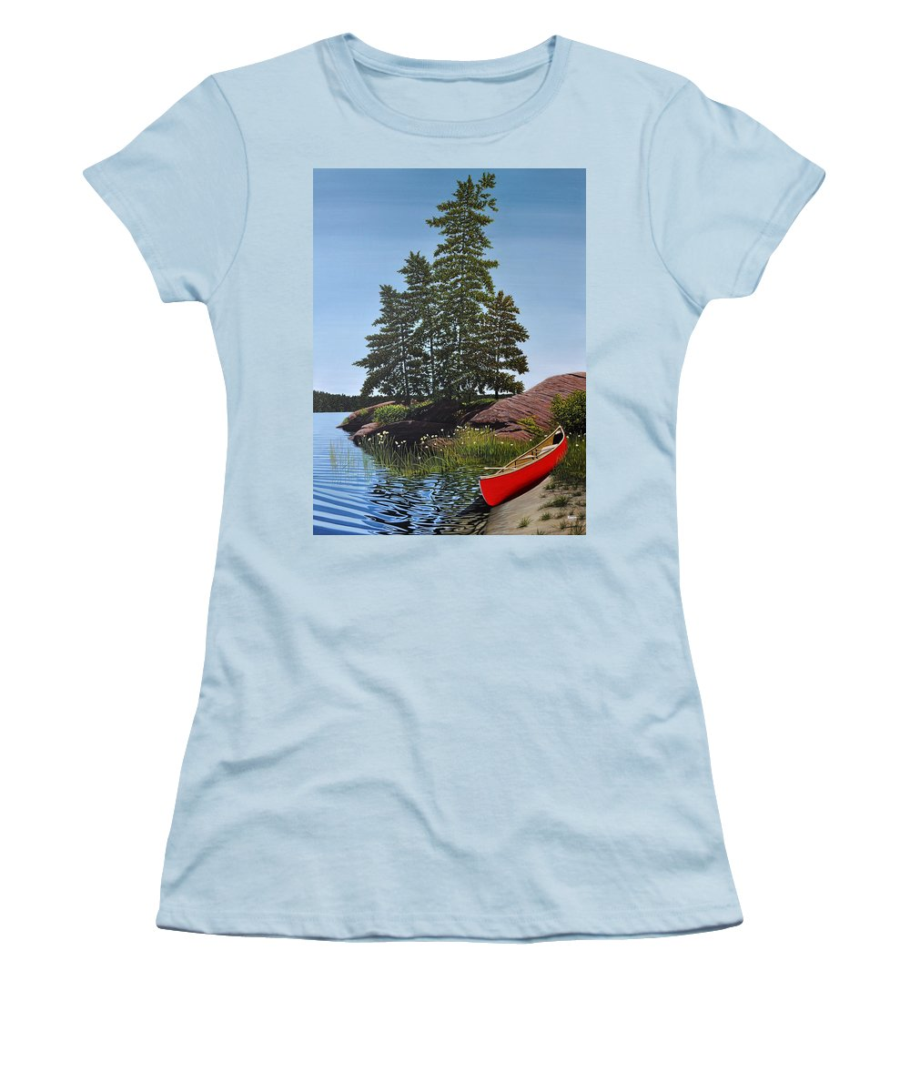Landscapes Women's T-Shirt (Athletic Fit) featuring the painting Georgian Bay Beached Canoe by Kenneth M Kirsch