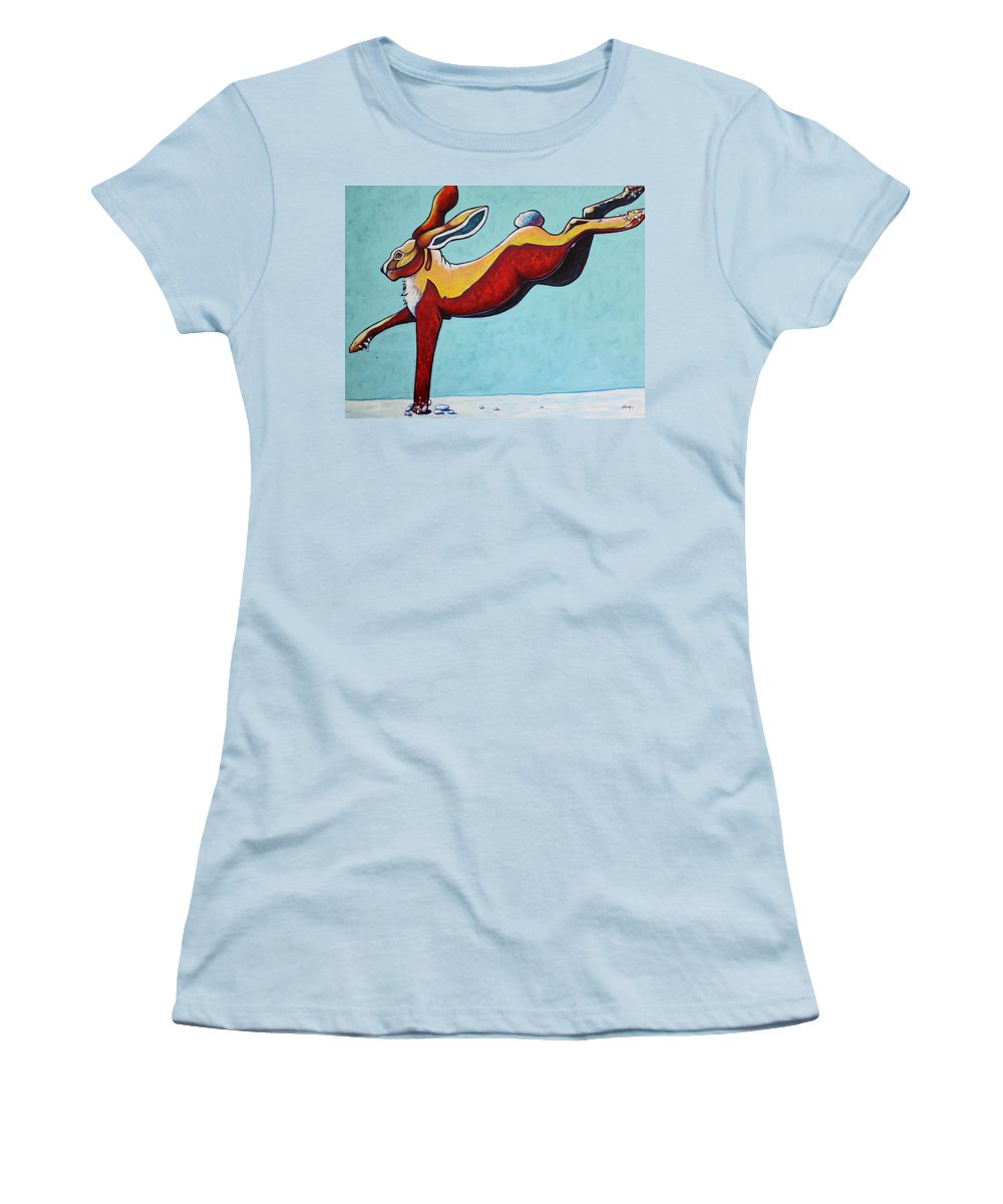 Wildlife Women's T-Shirt (Athletic Fit) featuring the painting High Tailing It - Jackrabbit by Joe Triano