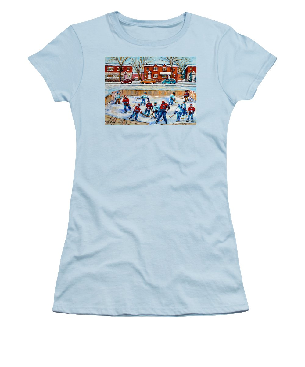 Hockey At Van Horne Montreal Women's T-Shirt (Athletic Fit) featuring the painting Hockey Rink At Van Horne Montreal by Carole Spandau
