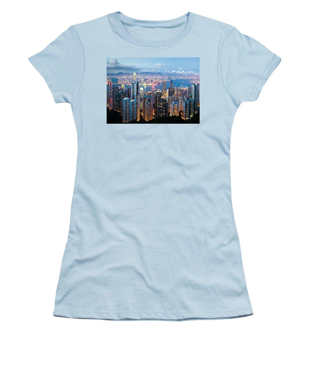 Hong Kong Women's T-Shirt (Athletic Fit) featuring the photograph Hong Kong At Dusk by Dave Bowman