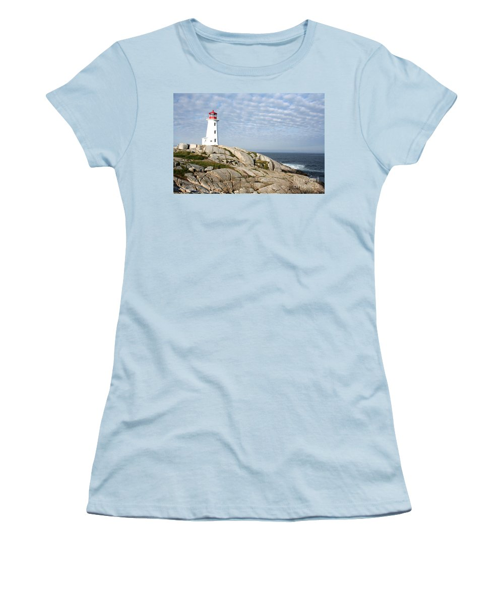 Lighthouse Women's T-Shirt (Athletic Fit) featuring the photograph Lighthouse At Peggys Point Nova Scotia by Thomas Marchessault