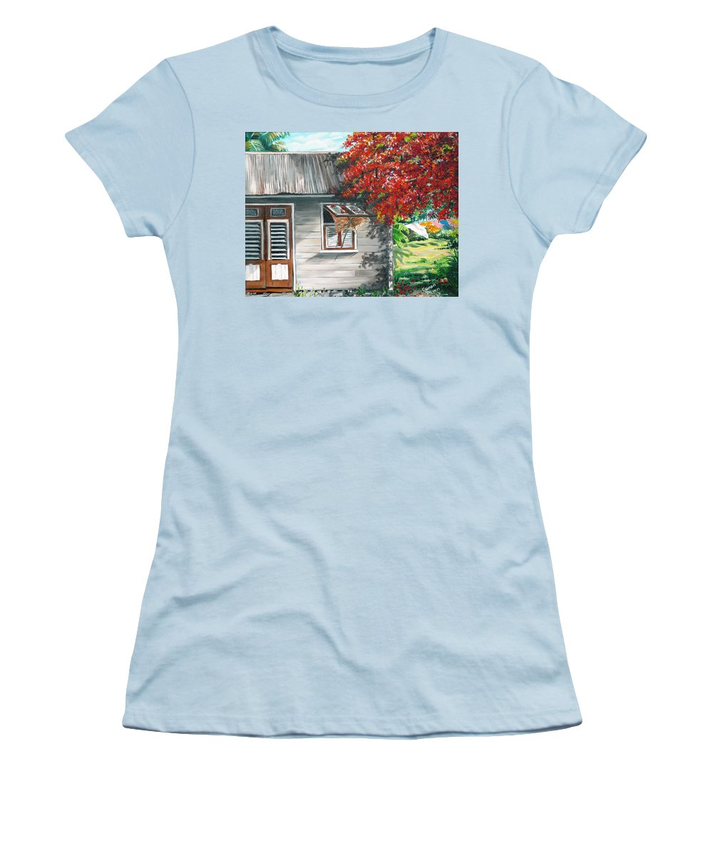 Caribbean Painting Typical Country House In The Caribbean Or West Indian Islands With Flamboyant Tree Tropical Painting Women's T-Shirt (Athletic Fit) featuring the painting Little West Indian House 1 by Karin Dawn Kelshall- Best