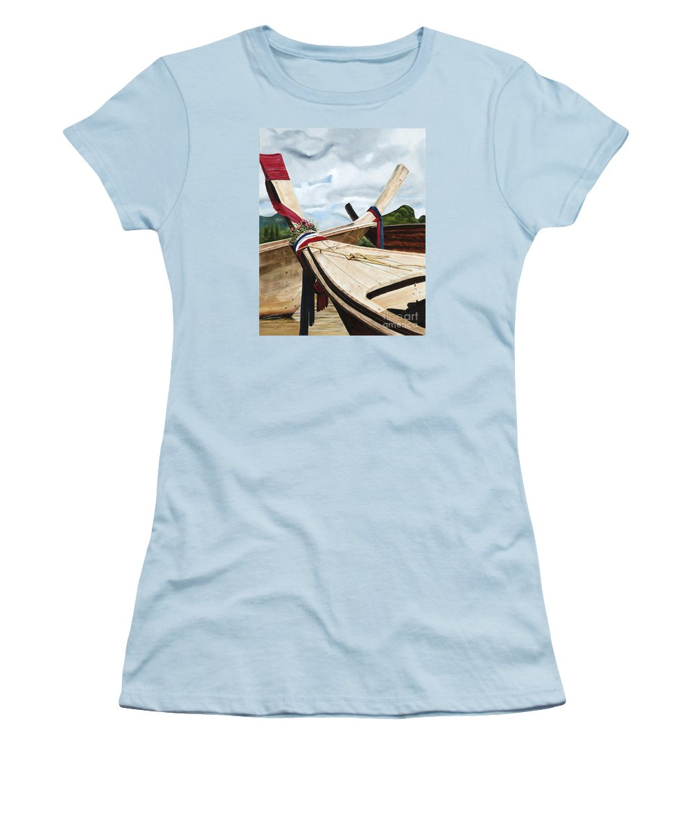 Art Women's T-Shirt (Athletic Fit) featuring the painting Long Tail Boats Of Krabi by Mary Rogers