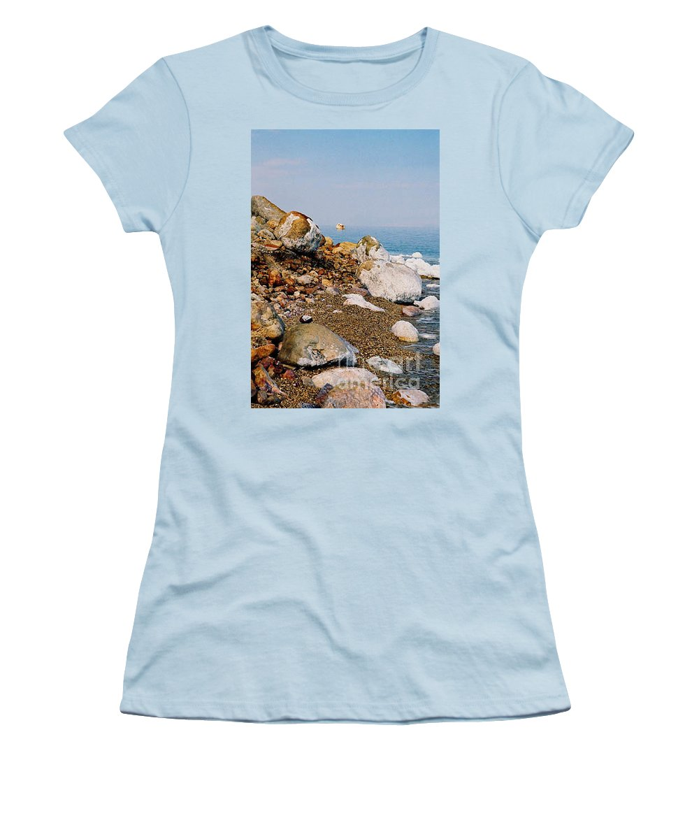 Dead Sea Women's T-Shirt (Athletic Fit) featuring the photograph Lot's Wife by Kathy McClure