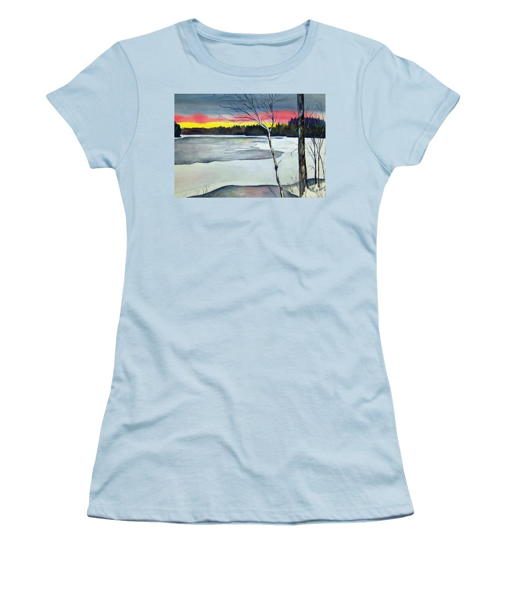 Landscape Women's T-Shirt (Athletic Fit) featuring the painting Maine Winter Sunset by Brenda Owen