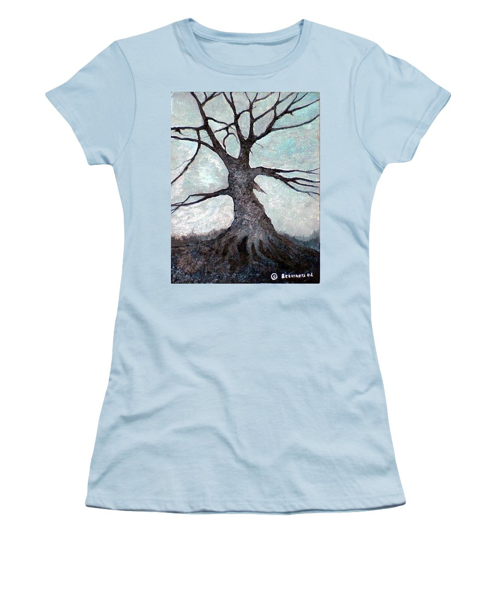 Landscape Women's T-Shirt (Athletic Fit) featuring the painting Old Tree by Sergey Bezhinets