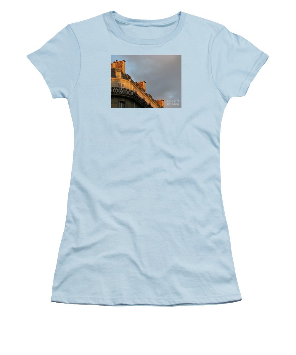 Paris Women's T-Shirt (Athletic Fit) featuring the photograph Paris At Sunset by Ann Horn
