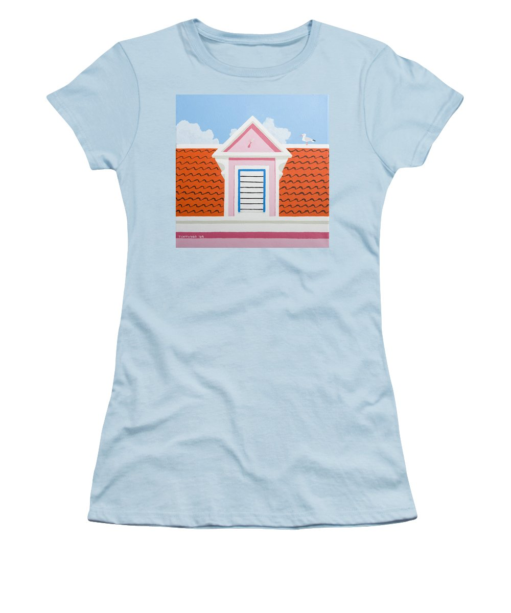 Caribbean House Architecture Curacao Aruba Antilles Sun Pink Color Women's T-Shirt (Athletic Fit) featuring the painting Pink House by Trudie Canwood