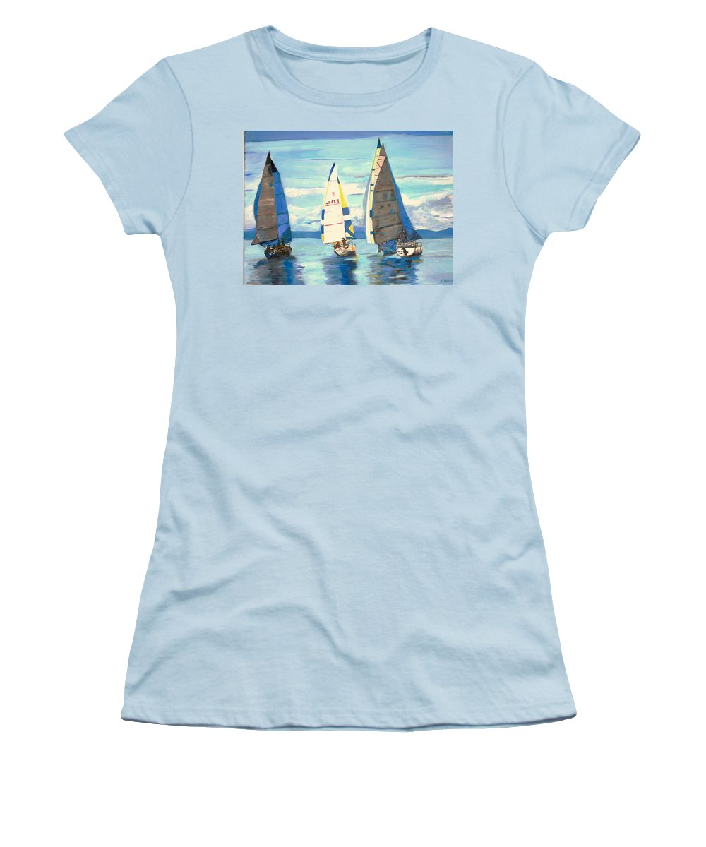 Seascape Women's T-Shirt (Athletic Fit) featuring the painting Sailing Regatta At Port Hardy by Teresa Dominici