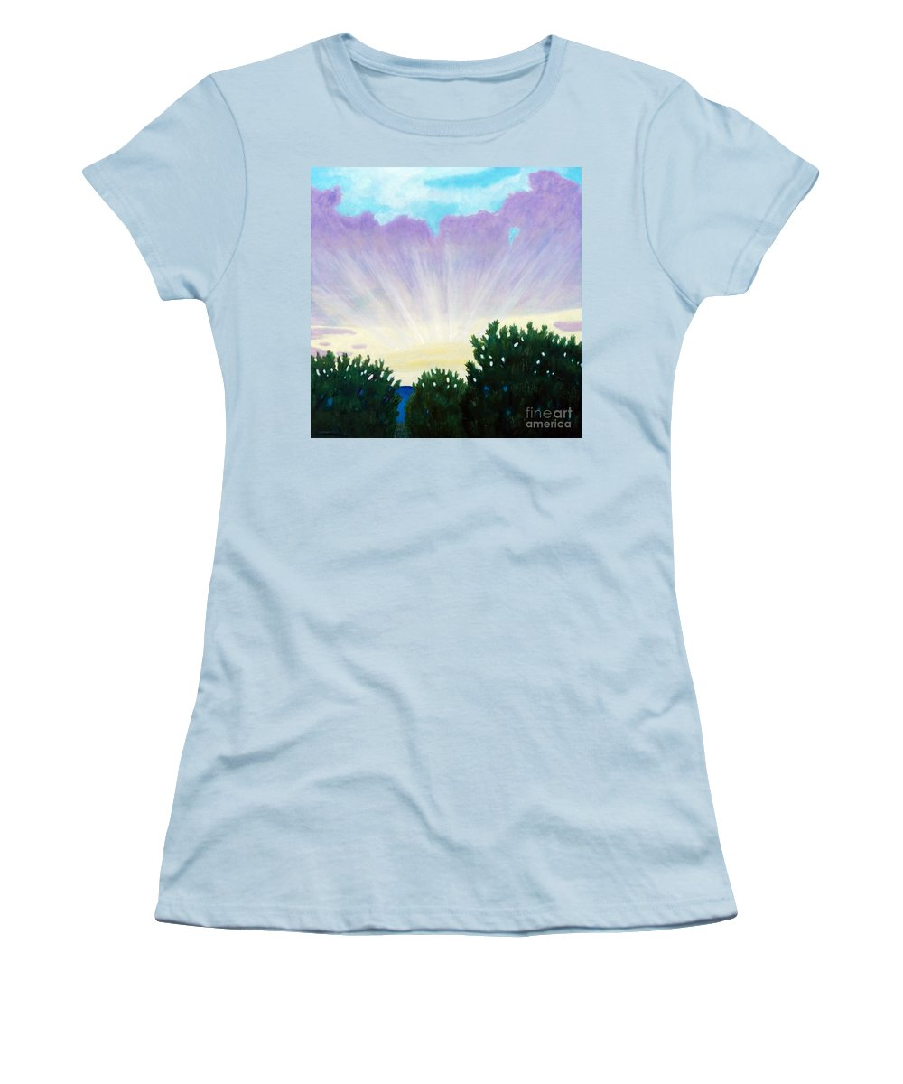 Skyscape Women's T-Shirt (Athletic Fit) featuring the painting Visionary Sky by Brian Commerford