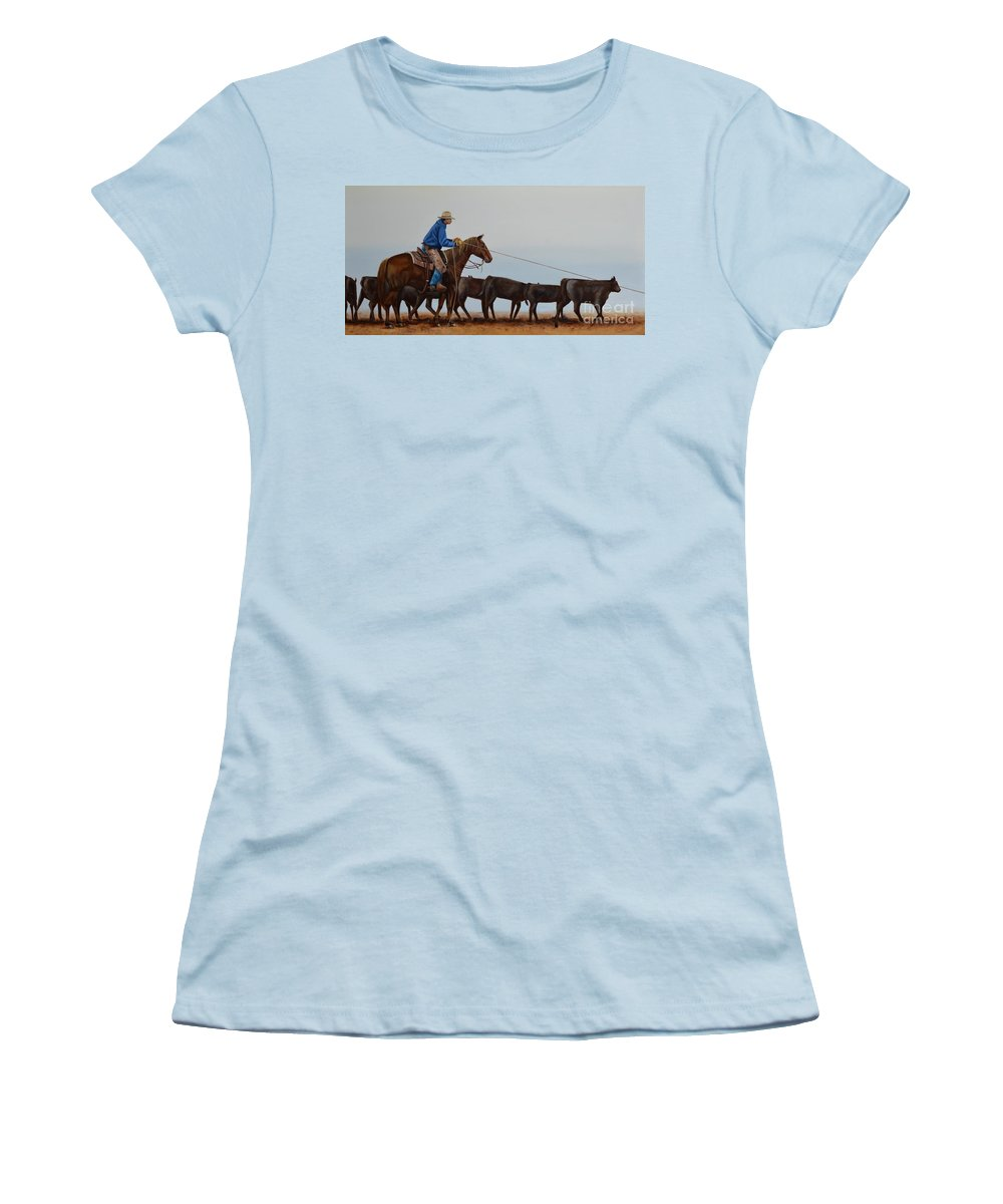 Art Women's T-Shirt (Athletic Fit) featuring the painting You're Next by Mary Rogers