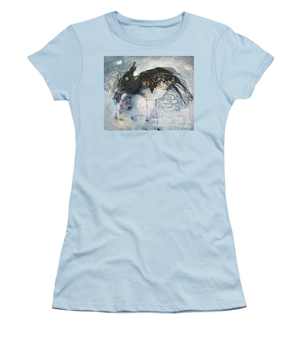 Robin Painting Women's T-Shirt (Athletic Fit) featuring the painting Baby Robin by Seon-Jeong Kim