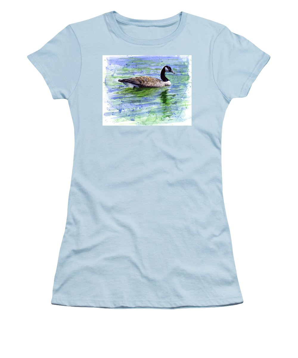 Bird Women's T-Shirt (Athletic Fit) featuring the painting Canada Goose by John D Benson
