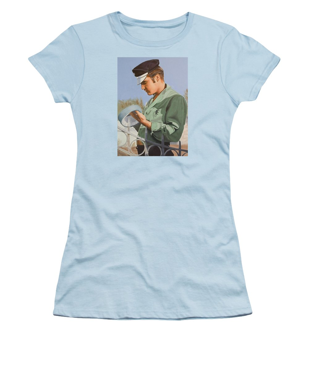 Singer Women's T-Shirt (Athletic Fit) featuring the painting Elvis Presley by Rob De Vries