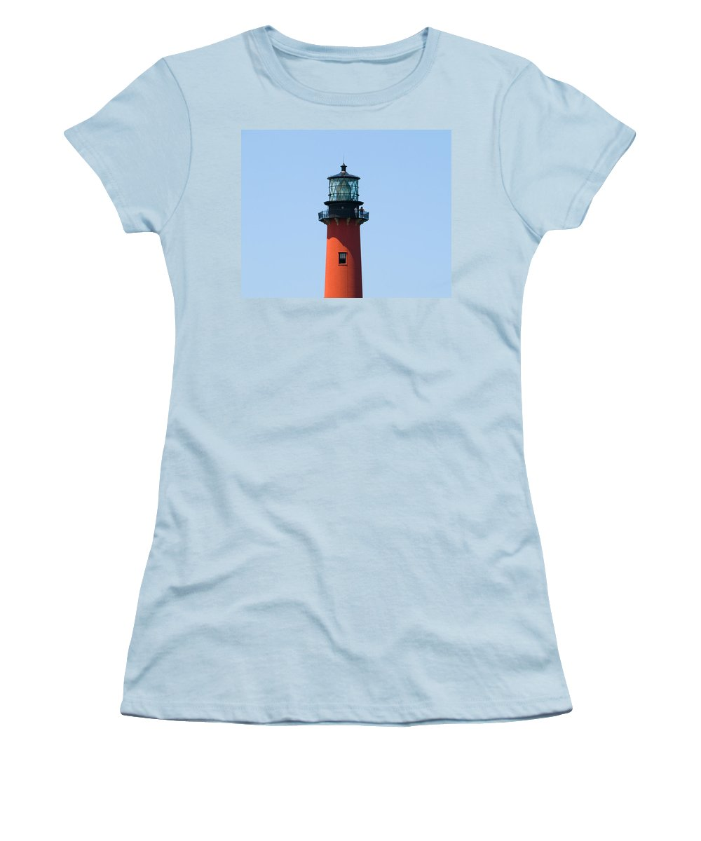Florida; Juptier; Inlet; Loxahatchee; River; Atlantic; Coast; Shore; Beach; Light; Lighthouse; Beaco Women's T-Shirt (Athletic Fit) featuring the photograph Jupiter Florida by Allan Hughes