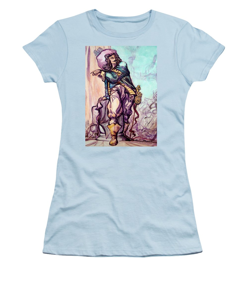 Musketeer Women's T-Shirt (Athletic Fit) featuring the painting Musketeer by Kevin Middleton